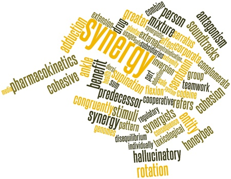 quarks: Abstract word cloud for Synergy with related tags and terms Stock Photo