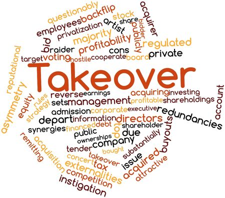 synergies: Abstract word cloud for Takeover with related tags and terms