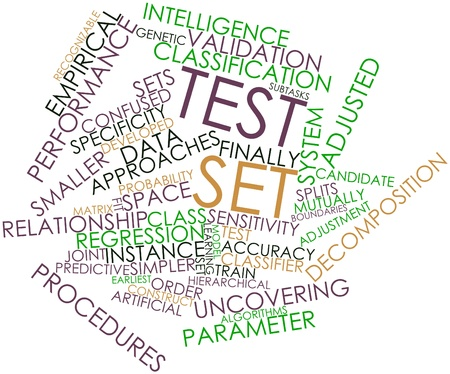 adjusted: Abstract word cloud for Test set with related tags and terms Stock Photo