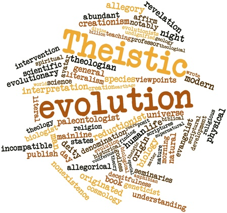 long term evolution: Abstract word cloud for Theistic evolution with related tags and terms Stock Photo