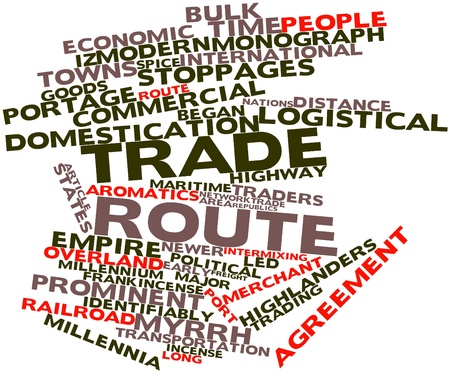 monograph: Abstract word cloud for Trade route with related tags and terms