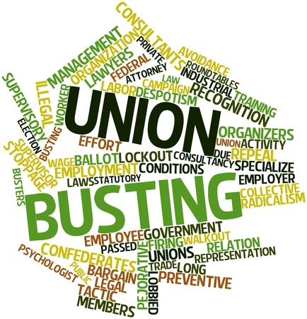 Abstract word cloud for Union busting with related tags and terms