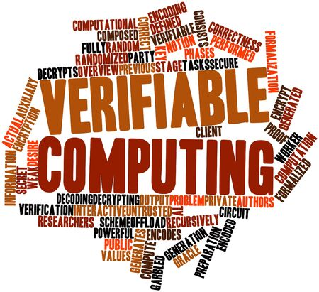 Abstract word cloud for Verifiable computing with related tags and terms Stock Photo - 17351353
