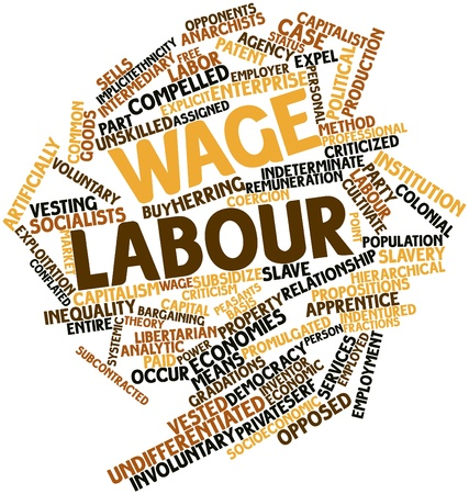 promulgated: Abstract word cloud for Wage labour with related tags and terms