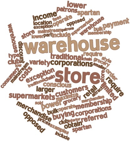 low cost: Abstract word cloud for Warehouse store with related tags and terms