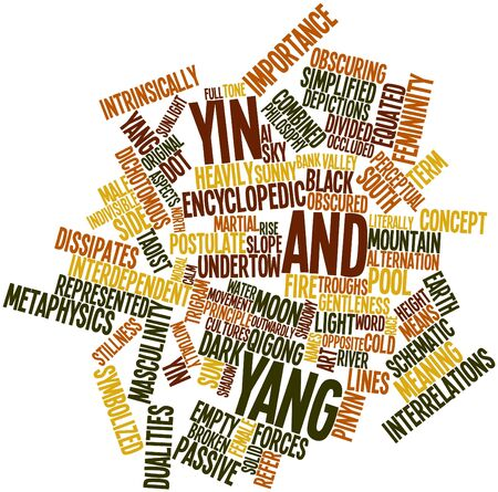 encyclopedic: Abstract word cloud for Yin and yang with related tags and terms