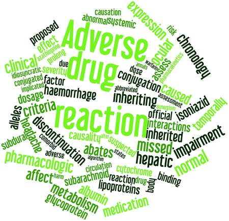 Abstract word cloud for Adverse drug reaction with related tags and terms Archivio Fotografico