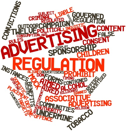 offence: Abstract word cloud for Advertising regulation with related tags and terms