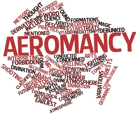 condemned: Abstract word cloud for Aeromancy with related tags and terms Stock Photo