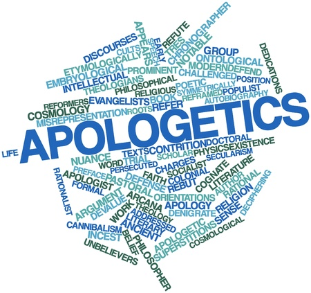 theologians: Abstract word cloud for Apologetics with related tags and terms Stock Photo
