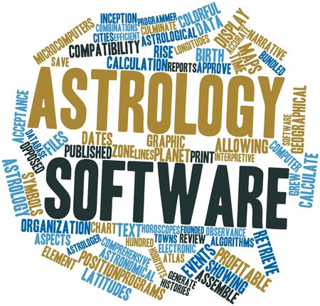 histories: Abstract word cloud for Astrology software with related tags and terms Stock Photo