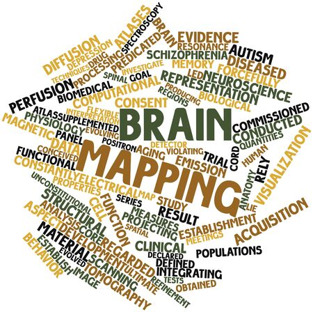 emission: Abstract word cloud for Brain mapping with related tags and terms Stock Photo