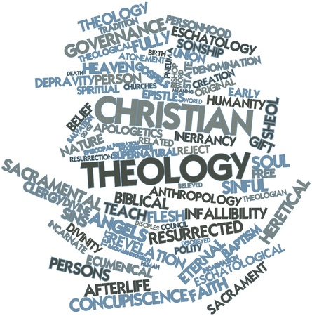 theology: Abstract word cloud for Christian theology with related tags and terms
