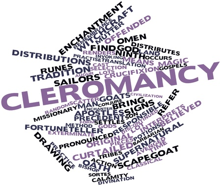 entities: Abstract word cloud for Cleromancy with related tags and terms Stock Photo