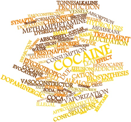 approximately: Abstract word cloud for Cocaine with related tags and terms