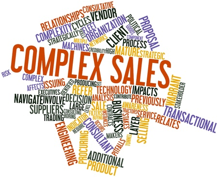 identified: Abstract word cloud for Complex sales with related tags and terms Stock Photo