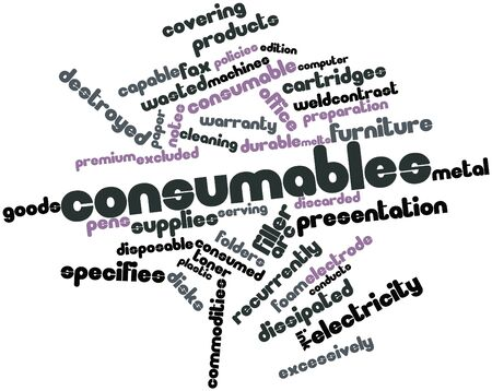 discarded: Abstract word cloud for Consumables with related tags and terms Stock Photo