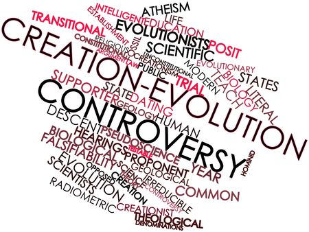 Abstract word cloud for Creation-evolution controversy with related tags and terms Stock Photo - 17397818