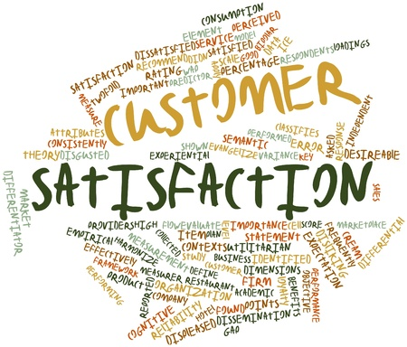 Abstract word cloud for Customer satisfaction with related tags and terms Archivio Fotografico