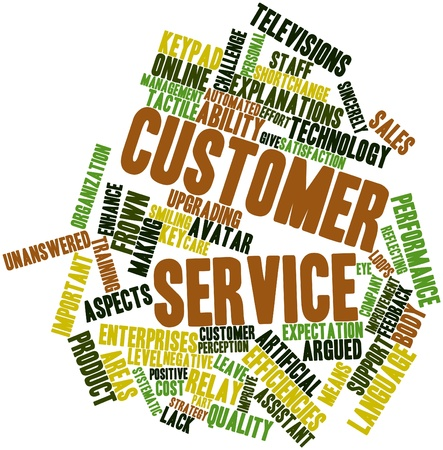 Abstract word cloud for Customer service with related tags and terms photo