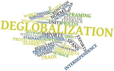 protectionism: Abstract word cloud for Deglobalization with related tags and terms Stock Photo