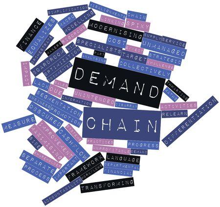arbitrario: Nube palabra abstracta para la cadena de demanda con las etiquetas y términos relacionados Foto de archivo