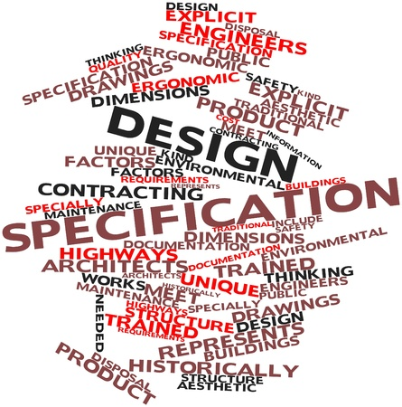 product design specification: Abstract word cloud for Design specification with related tags and terms