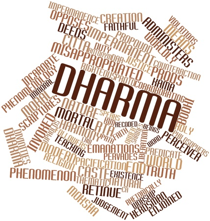 implicit: Abstract word cloud for Dharma with related tags and terms Stock Photo