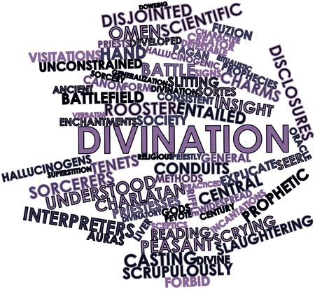 practiced: Abstract word cloud for Divination with related tags and terms