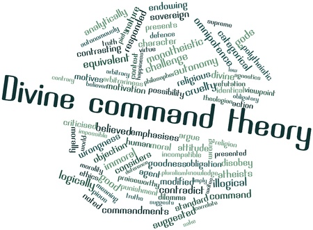 Abstract word cloud for Divine command theory with related tags and terms Stock Photo