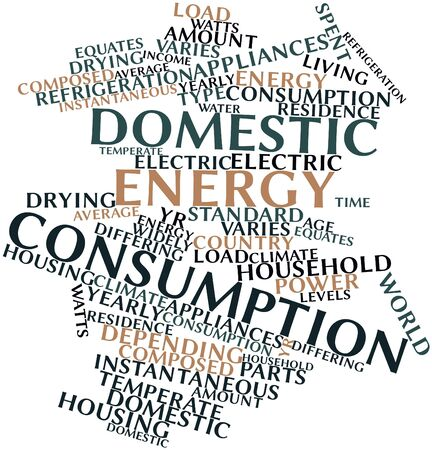 widely: Abstract word cloud for Domestic energy consumption with related tags and terms Stock Photo