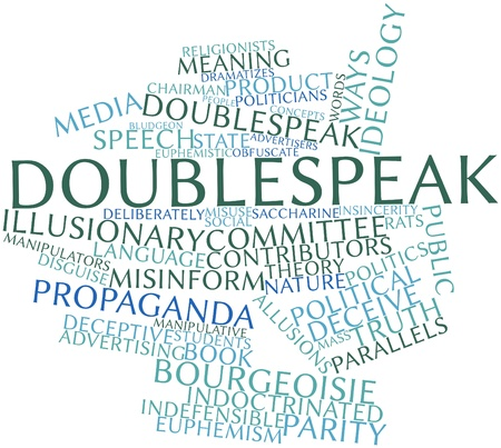 conflict theory: Abstract word cloud for Doublespeak with related tags and terms Stock Photo
