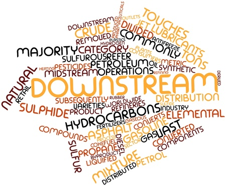 downstream: Abstract word cloud for Downstream with related tags and terms Stock Photo