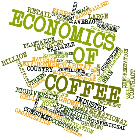 Abstract word cloud for Economics of coffee with related tags and terms Stock Photo - 17398355