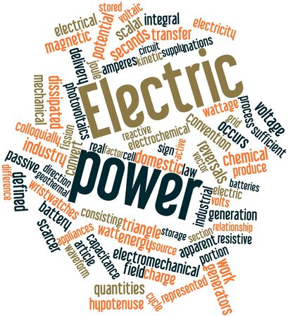 resistive: Abstract word cloud for Electric power with related tags and terms Stock Photo