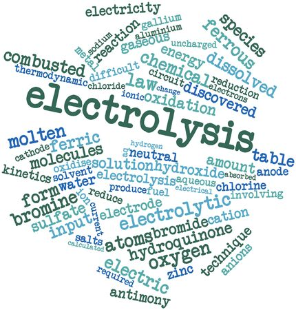 barium: Abstract word cloud for Electrolysis with related tags and terms Stock Photo