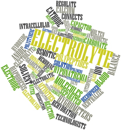 dissociation: Abstract word cloud for Electrolyte with related tags and terms Stock Photo