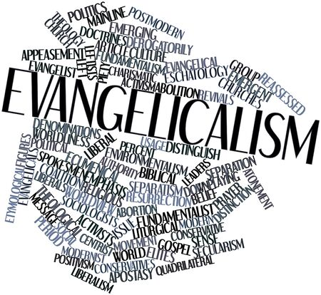 church group: Abstract word cloud for Evangelicalism with related tags and terms Stock Photo