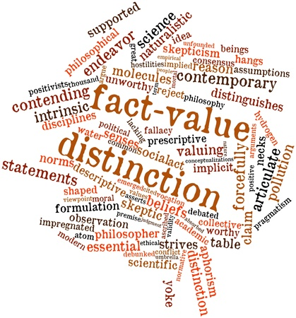 cited: Abstract word cloud for Fact-value distinction with related tags and terms Stock Photo