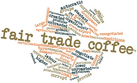 quotas: Abstract word cloud for Fair trade coffee with related tags and terms Stock Photo