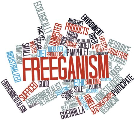 Abstract word cloud for Freeganism with related tags and terms Stock Photo - 17398215