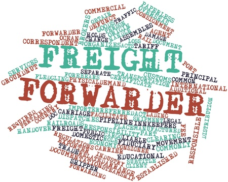 Nube palabra abstracta para Freight Forwarder con etiquetas y términos relacionados Foto de archivo