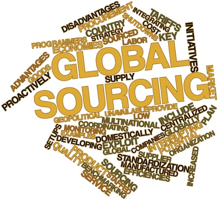 standardization: Abstract word cloud for Global sourcing with related tags and terms Stock Photo