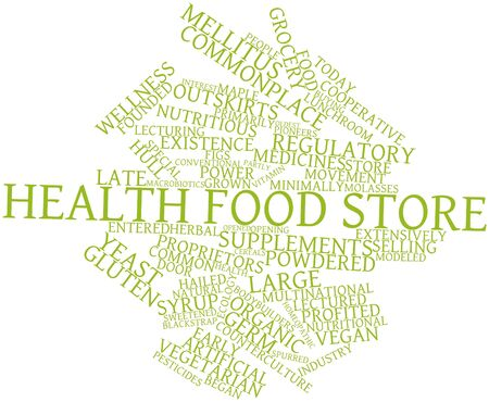 power operated: Abstract word cloud for Health food store with related tags and terms