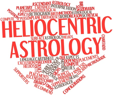 cartwheel: Abstract word cloud for Heliocentric astrology with related tags and terms Stock Photo
