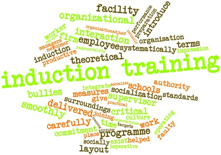 socialise: Abstract word cloud for Induction training with related tags and terms Stock Photo