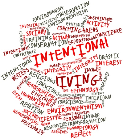 humanism: Abstract word cloud for Intentional living with related tags and terms