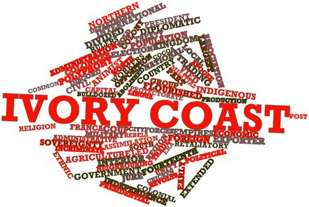 neighbouring: Abstract word cloud for Ivory Coast with related tags and terms Stock Photo