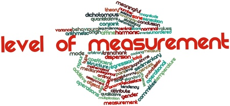 tendency: Abstract word cloud for Level of measurement with related tags and terms Stock Photo