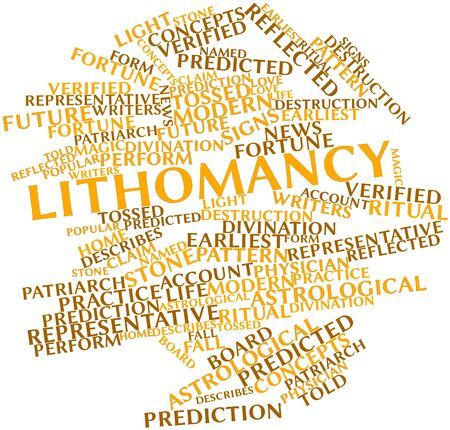 predicted: Abstract word cloud for Lithomancy with related tags and terms Stock Photo